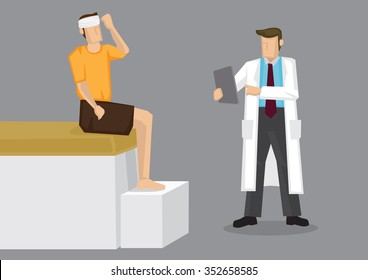 Cartoon man with head bandage and physician in white coat holding clip board. Cartoon vector illustration on health care and medical concept isolated on grey background.