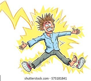 Cartoon man hit by lightning