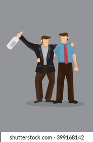 Cartoon man holding a drink bottle and supported by his buddy. Vector illustration on drinking buddy concept isolated on grey background.