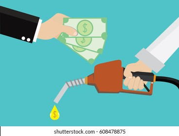 Cartoon, Man holding a gas fuel pump nozzle and Pay gasoline with money., vector eps10