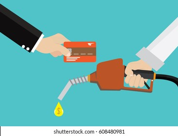 Cartoon, Man holding a gas fuel pump nozzle and Pay gasoline with credit card., vector eps10