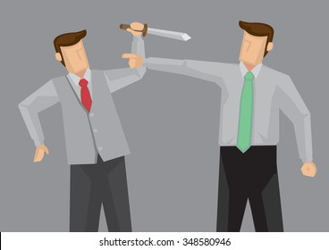 Cartoon man holding a knife trying to kill the other man who is pointing offensively at him. Vector cartoon illustration on ugly confrontation concept.