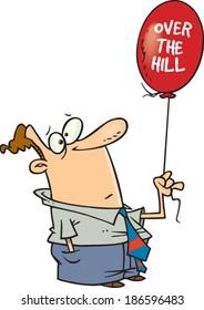 cartoon man holding an over the hill balloon