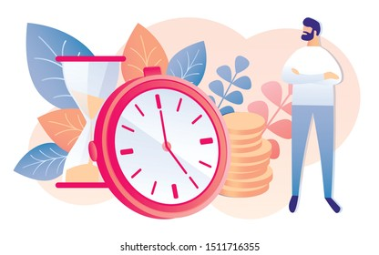 Cartoon Man with Hourglass Watch Golden Coin Stack Vector Illustration. Increase Money Savings Bank Deposit Investment. Deadline Time Management. Salary Payment Business Capital Income Planning