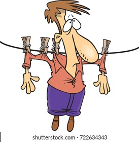 cartoon man hung up on a clothes line