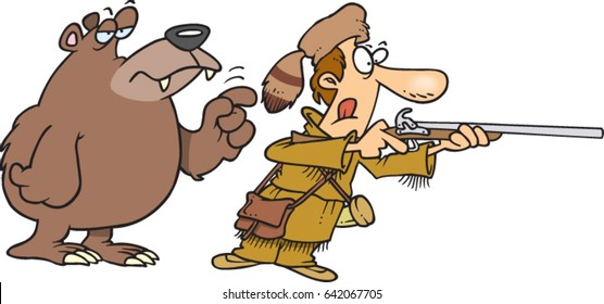 cartoon man hunting and a bear tapping on his shoulder