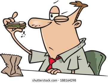 cartoon man inspecting his sandwich