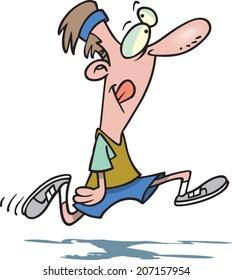 cartoon man jogging