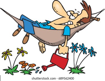 cartoon man lying in a hammock with a watering can