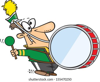 Cartoon man in a marching band playing the drum