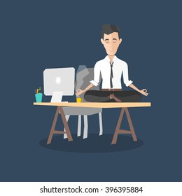 cartoon man meditation in office. yoga at job. young man relaxing in lotus position on table with computer at work