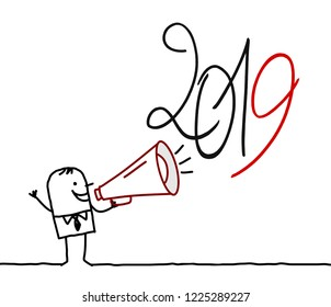 Cartoon Man with Megaphone and 2019 Sign
