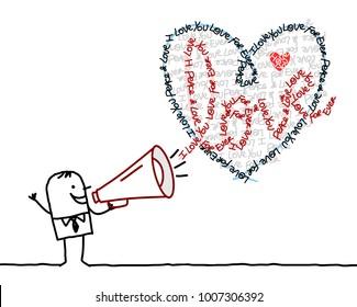 Cartoon Man with Megaphone and Calligram Heart
