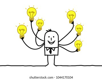 Cartoon Man with Multi Light bulbs