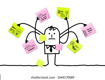 Cartoon Man Multitasking with Sticky Notes