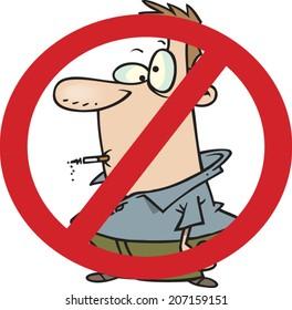 cartoon man in a no smoking sign