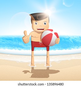 Cartoon man on the beach on background sea wave. Vector character.