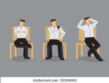 Cartoon man on a bench in relaxed sitting positions, cross-legged with folded arms, taking selfie with hand phone and hands behind head. Set of three vector illustrations isolated on grey background.