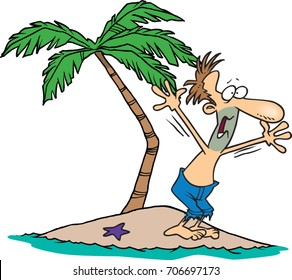 cartoon man on a deserted island waving for help