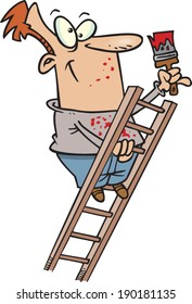 cartoon man on a ladder painting