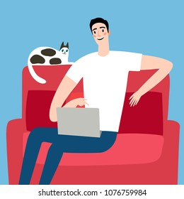 Cartoon man on sofa using computer. Internet illustration for your design.