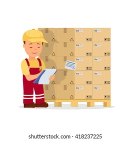 Cartoon man operator maintains records the cargo holding clipboard. Warehouse worker checking goods on pallet