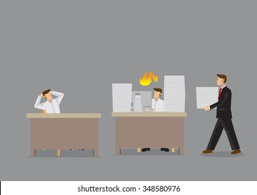 Cartoon man overloaded with work and manager is bringing him more to do while coworker sits idling. Vector cartoon illustration for unfairness at work concept isolated on grey background.