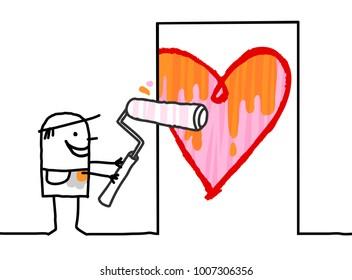 Cartoon Man Painting a big  Heart on Door