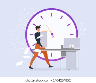 Cartoon Man with Paper Sheet Stack on Office Table. Clock Deadline Stress Vector Illustration. Busy Male Office Worker. Bureaucracy Paperwork, Financial Document Overwork, Tired Employee Businessman