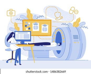 Cartoon Man Patient MRI Woman Doctor Examining Vector Illustration. Magnetic Resonance Imaging Technology. Medical Examination, Brain Scan, Tomography, Radiology Laboratory, Xray Scanner