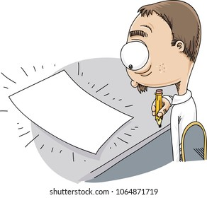 A cartoon man with a pencil feels anxiety as he faces a blank piece of paper that he needs to fill.