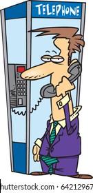 cartoon man in a phone booth