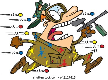 cartoon man playing paintball