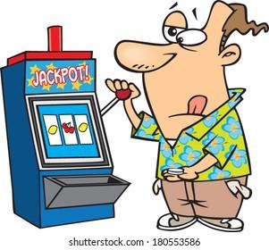 cartoon man playing the slots