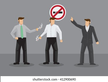Cartoon man pointing at No Smoking to smokers taking cigarette break. Vector illustration on smoking ban in workplace isolated on grey background.