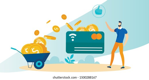 Cartoon Man Presenting Successful Bank Credit Card with Contactless Pay Technology Usage. Metaphor Trolley Cart Full of Gold Coins. Flat Thumbs-up Sign. Wireless Money Transaction Vector Illustration