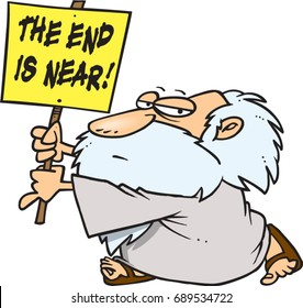cartoon man with a prophetic sign that the end is near