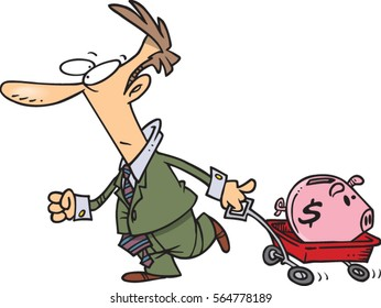 cartoon man pulling a wagon and piggy bank