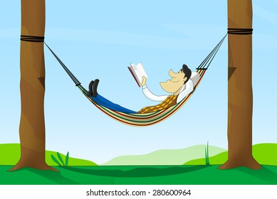Cartoon man read a book while lying in a hammock