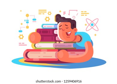 Cartoon man reading many books. Tired student sleeping on book vector illustration. Exhausted boy dozing off and dreams about science and education flat concept