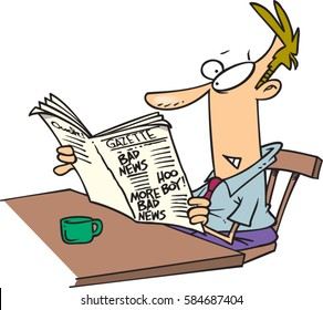 cartoon man reading the newspaper