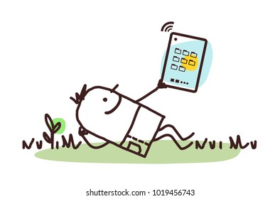 Cartoon Man Relaxing with His Tablet
