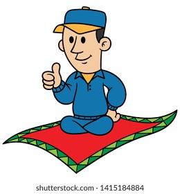 Cartoon Man Riding a Flying Carpet