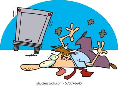 Desenho de homem atropelado por caminhão. O que acontece com empresas sem backup ou como nos sentimos após um ataque cibernético sem armazenamento em nuvem.