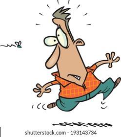 cartoon man running from a bee