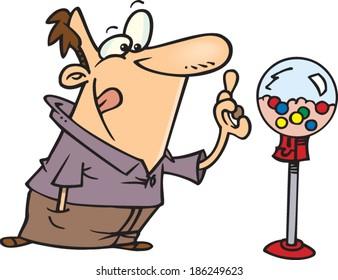 cartoon man running with a fist full of cash