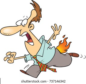 cartoon man running with his pants on fire