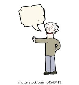 cartoon man saying stop
