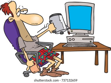 cartoon man sitting at his computer desk in his boxers, holding an empty coffee pot