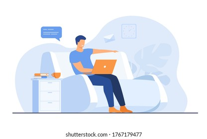 Cartoon man sitting at home with laptop isolated flat vector illustration. Young businessman on sofa with computer. Lifestyle, freelance and chat concept